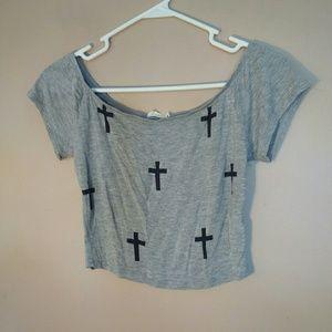 Tobi S Gray Cropped Cross Tee